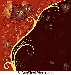 紅色, 布朗, 以及, 黃金, 植物, 框架