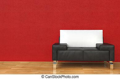 紅色, 房間, 皮革armchair