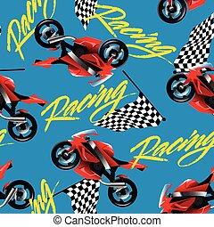 紅色, 摩托車競賽, 由于, 交替變換旗, seamless, 圖案