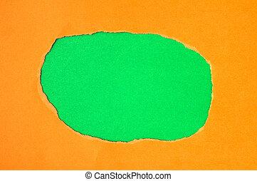 紅色, 撕破紙張, 由于, 綠色的空間, 為, 正文
