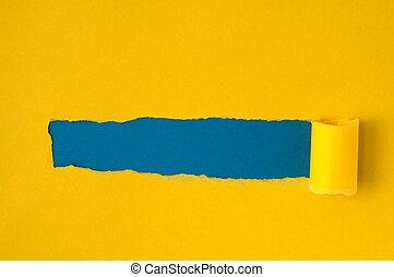 紅色, 撕破紙張, 由于, 藍色, 空間, 為, 正文