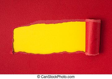 紅色, 撕破紙張, 由于, 黃色, 空間, 為, 正文