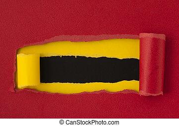 紅色, 撕破紙張, 由于, 黑色, 空間, 為, 正文