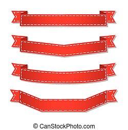 紅色, 旗幟, 帶子, 集合