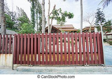 紅色, 木制, 滑動, 前門, ......的, 房子