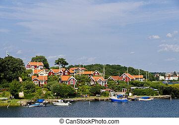 紅色, 村舍, 在, brandaholm, 瑞典