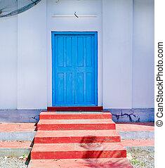 紅色, 步驟, 藍色的門