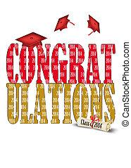紅色, 畢業帽子, 為, 2014