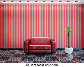 紅色, 皮革armchair
