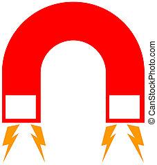 紅色, 磁鐵, 由于, 馬蹄鐵