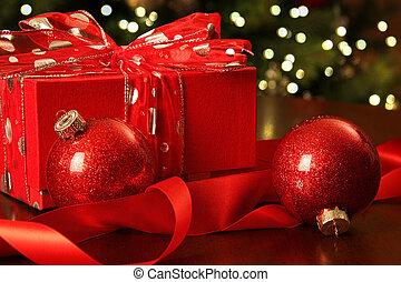 紅色, 禮物, 裝飾品, 聖誕節