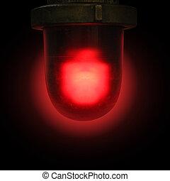 紅色, 緊急事件, 警報器, 上, 黑色的背景