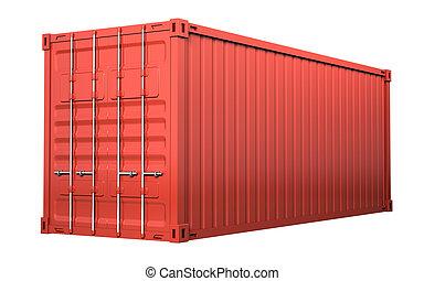 紅色, 貨物容器, -, 被隔离, 在懷特上, 背景