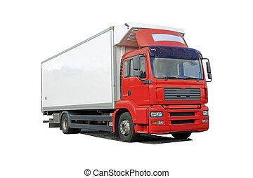 紅色, 送貨卡車, 被隔离, 在上方, 白色