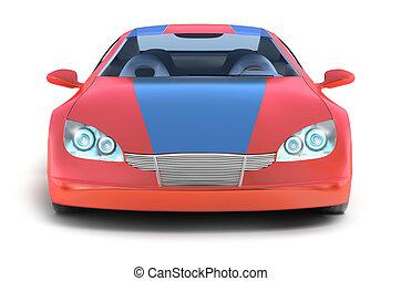 紅色, 運動, 汽車, 在懷特上, 表面