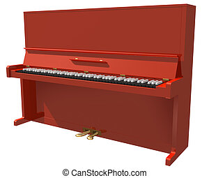 紅色, 鋼琴, 被隔离, 上, a, 白色