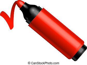 紅色, 鋼筆, 做, a, 馬克