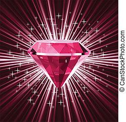 紅色, 鑽石, 上, 明亮, 背景。, 矢量