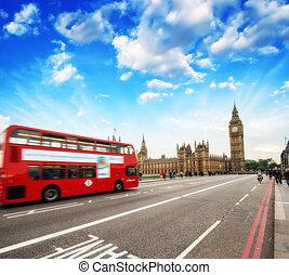 紅色, 雙層公共汽車, 在, 心, ......的, london., westminster, bridge.