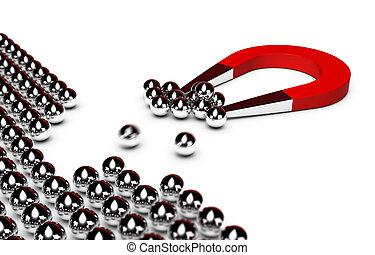 紅色, 馬蹄鐵磁鐵, 吸引, 一些, 鉻, 球, 從, a, 人群, 白色 背景