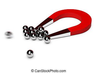 紅色, 馬蹄鐵磁鐵, 吸引, 一些, 鉻, 球, 白色 背景