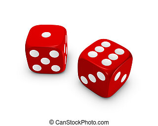 紅色, 骰子, 在懷特上, 背景