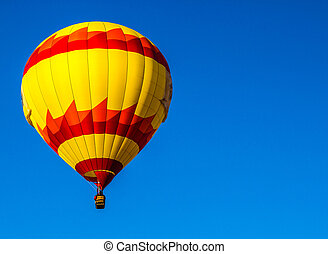 紅色, &, 黃色, 熱的空氣汽球
