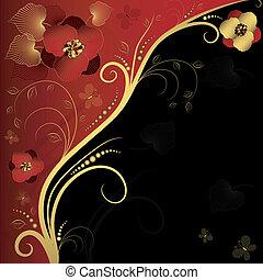 紅色, 黑色和, 黃金, 植物, 框架