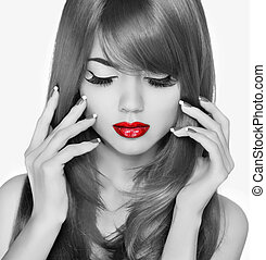 紅色, lips., 美麗, 時裝, 婦女, portrait., eyelashas, 以及, 長的頭髮麤毛交織物