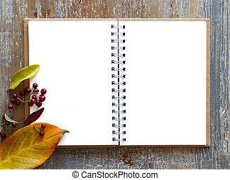 紅葉, ノート, 開いた, 背景