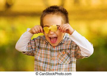 紅葉, 子供, 遊び, 幸せ