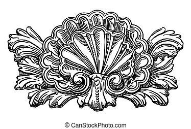紋章学, スケッチ, 殻, 隔離された, calligraphic, ハマグリ, ほんの少し, 図画