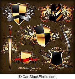 紋章学, セット, 中世