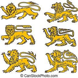 紋章学, セット, heraldic, ライオン, デザイン, 入れ墨, アイコン