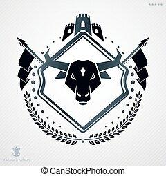 紋章学, 紋章, 作成される, 型, ベクトル, デザイン, head., タワー, バッファロー, テンプレート