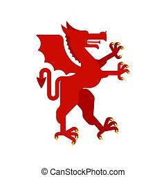紋章学, 素晴らしい, モンスター, コート, heraldic, ドラゴン, arms., デザイン, 赤, beast., animal., element.