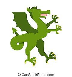 紋章学, 素晴らしい, モンスター, コート, heraldic, ドラゴン, arms., デザイン, beast., 緑, animal., element.