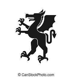 紋章学, 素晴らしい, モンスター, コート, heraldic, silhouette., arms., デザイン, 動物, beast., ドラゴン, element.
