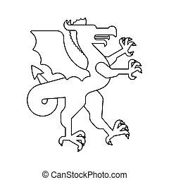 紋章学, 素晴らしい, 線である, コート, heraldic, ドラゴン, arms., デザイン, 動物, beast., style., element., モンスター