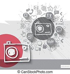 紋章, アイコン, 写真, 手, ペーパー, 背景, 引かれる, カメラ