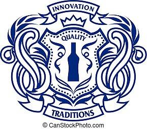 紋章, アルコール, decoration., template., 頂上, monogram, 飲み物