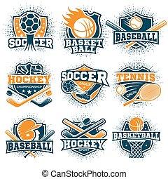 紋章, スポーツ, セット, カラフルである