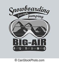 紋章, スポーツ, 冬, -, tシャツ, snowboarding, ベクトル