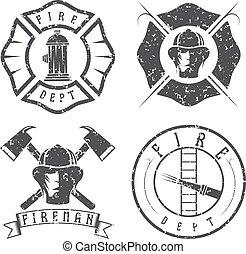 紋章, バッジ, セット, グランジ, 部門, 火
