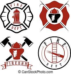 紋章, バッジ, セット, 部門, 火