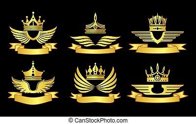 紋章, リボン, 王冠