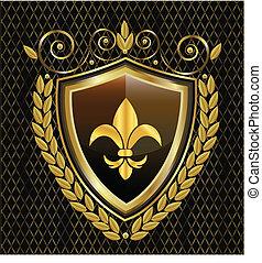 紋章, 保護, de, fleur, lis, ロゴ