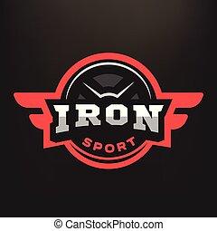 紋章, 暗い, バックグラウンド。, 鉄, スポーツ, ロゴ