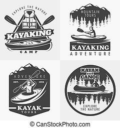紋章, 構成, カヤックを漕ぐ 冒険