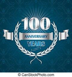 紋章, 記念日, wreath., 年, 月桂樹, 100, リボン